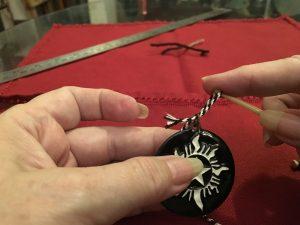 Threading the medallion, step 2.
